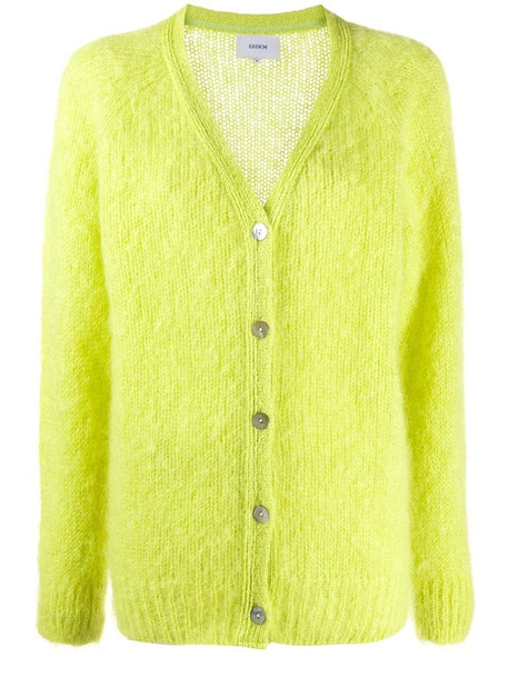 Erdem rib-trimmed knitted cardigan in yellow