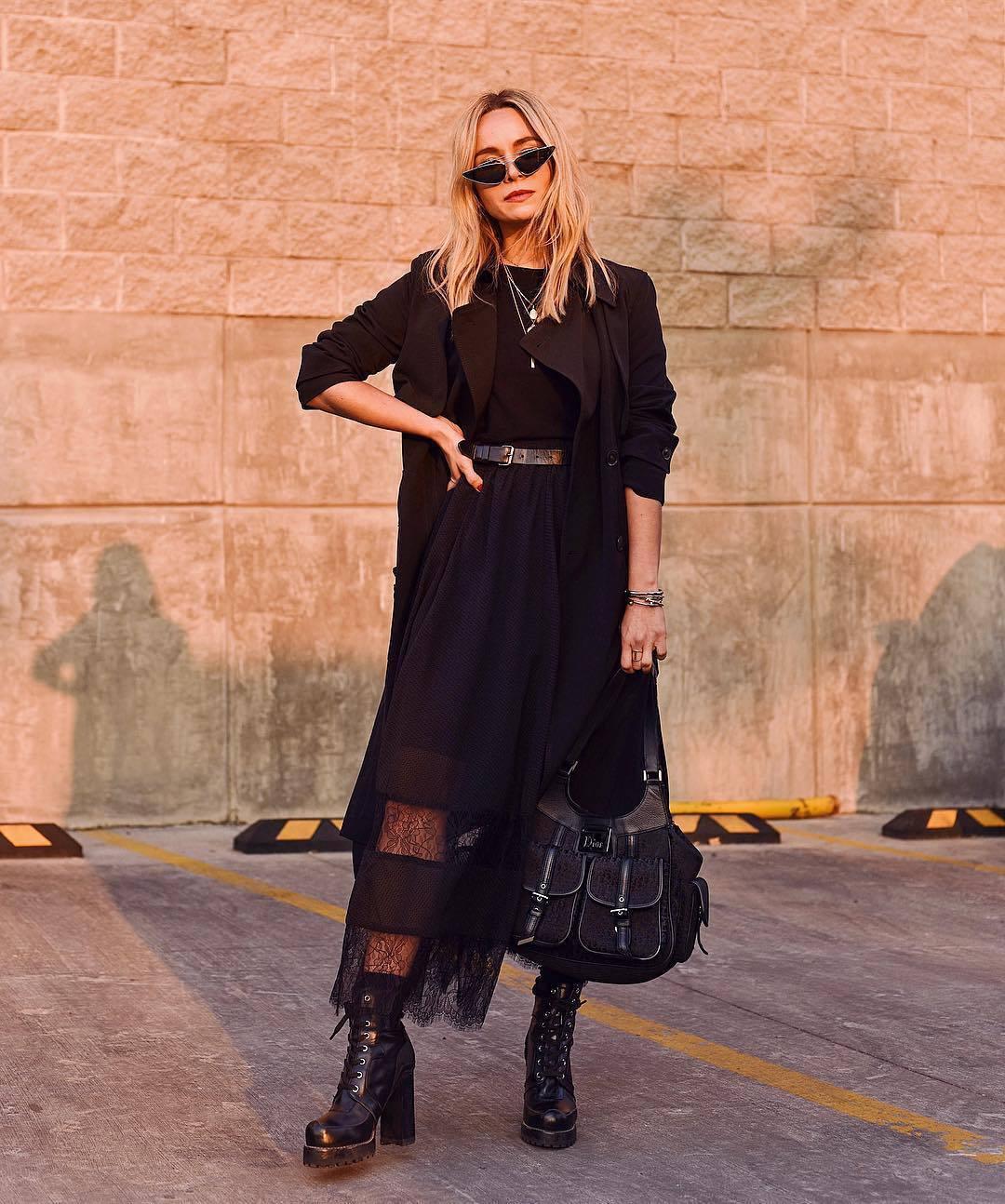 skirt black skirt lace skirt h&m black boots high heels boots black bag black coat trench coat black belt black top