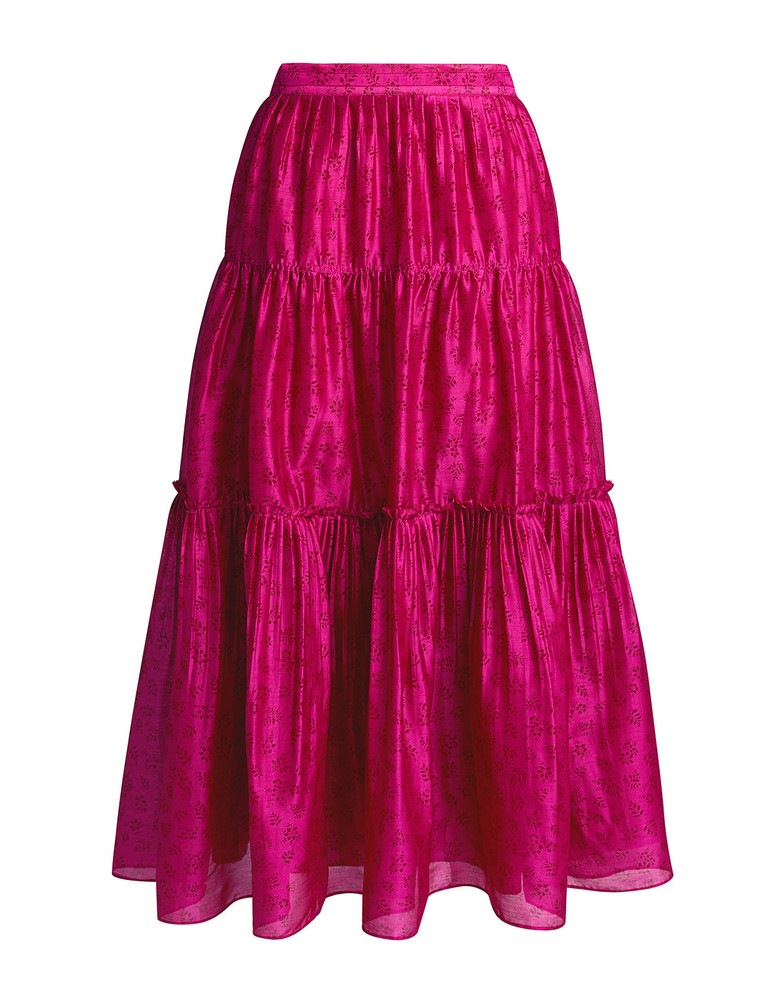 Ulla Johnson Jeune Floral Pleated Midi Skirt Fuchsia