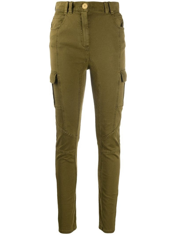 Balmain panelled skinny cargo trousers in green
