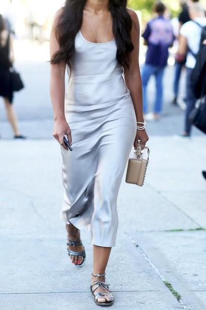 le fashion blogger silk silk dress silver shoes slip satin dress silk slip dress sandals flats flat sandals