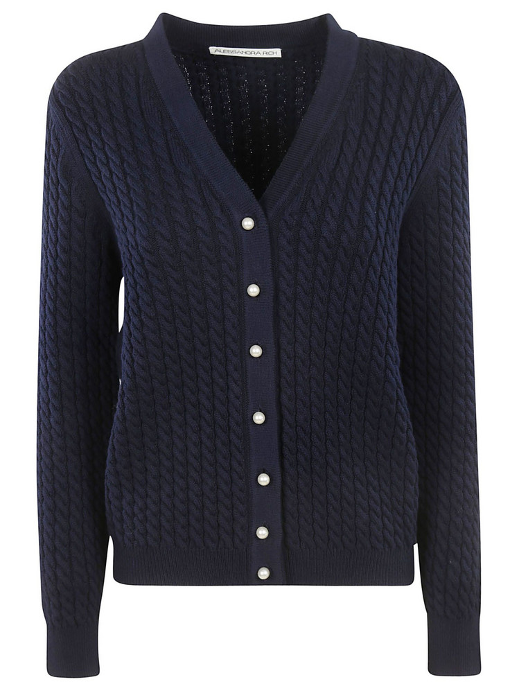 Alessandra Rich Buttoned Cardigan in blue