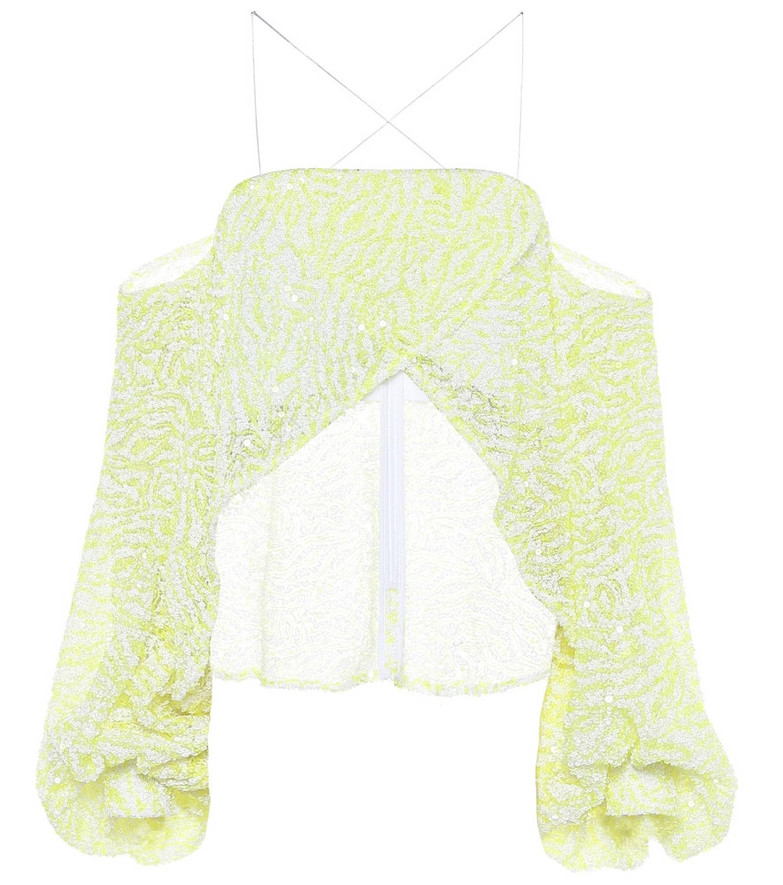 Halpern Sequined off-shoulder cropped blouse in yellow