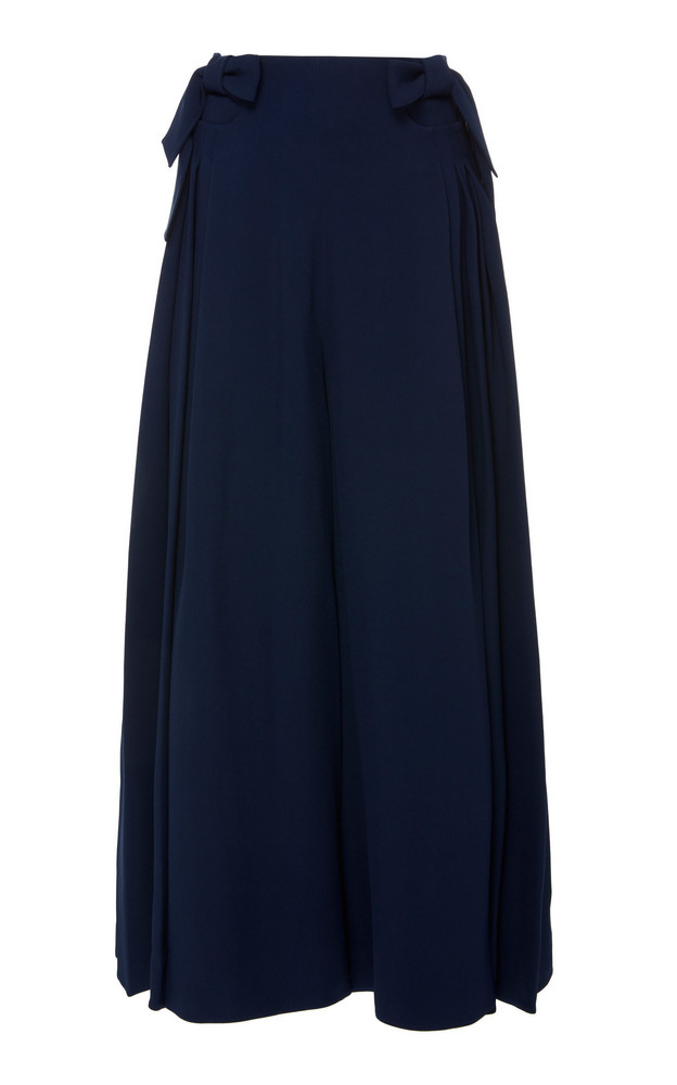 DELPOZO Bow-Detailed Cropped Wide-Leg Pants in blue