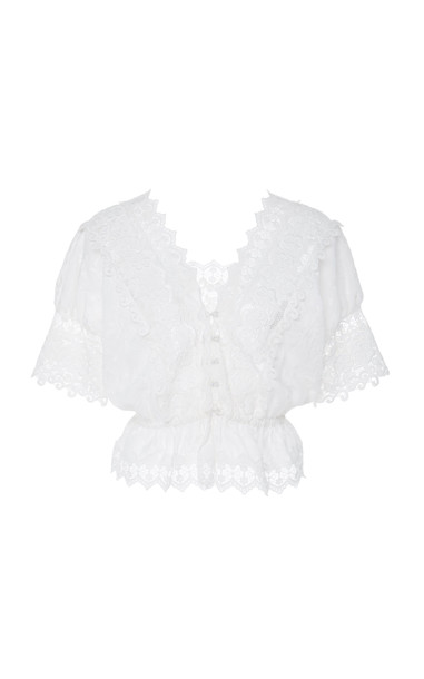 Alexis Pentha Cropped Lace Top Size: M in white