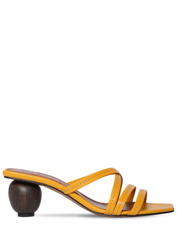 SOULIERS MARTINEZ 55mm Leather Sandals in yellow