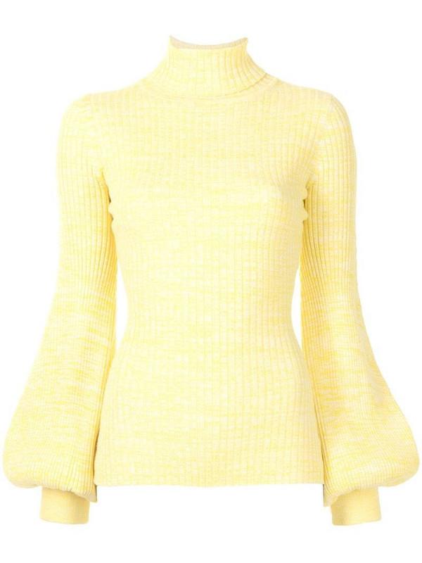 Anna Quan balloon-sleeve rollneck jumper in yellow