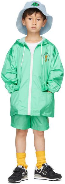 Jellymallow Kids Green Board Hoodie Rain Coat in mint
