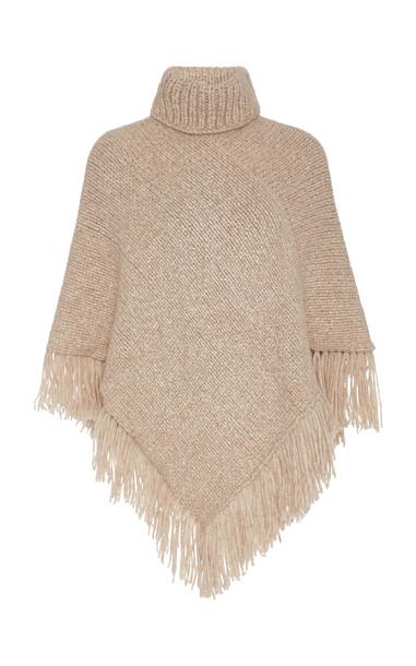Matta Hermosa Fringed Wool-Blend Turtleneck Poncho in neutral