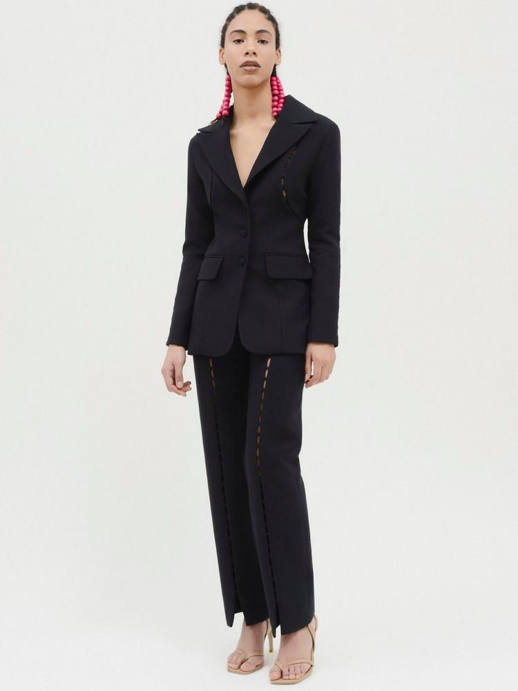 MATÉRIEL Wool Blend Blazer W/ Front Cutouts in black