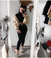 shoes,winter outfits,black shirt,black jeans,balenciaga,entire outfit,beige,jacket,belt,gold,black