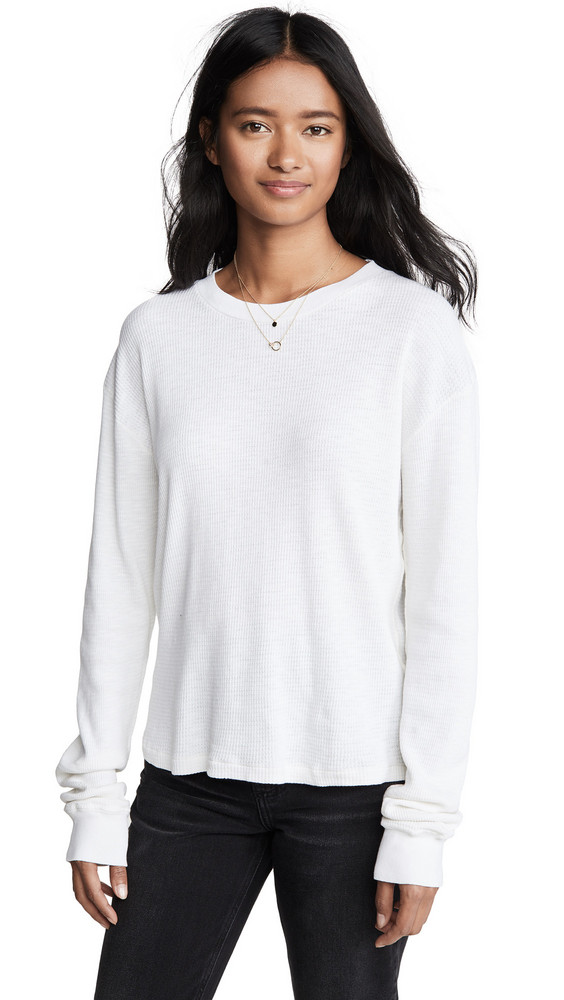 RE/DONE Thermal Long Sleeve T-Shirt in white
