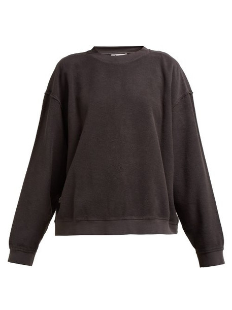 Acne Studios - Crew Neck Cotton Sweatshirt - Womens - Dark Grey