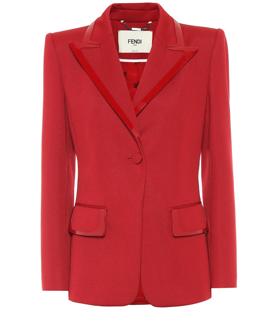 Fendi Leather-trimmed jersey blazer in red