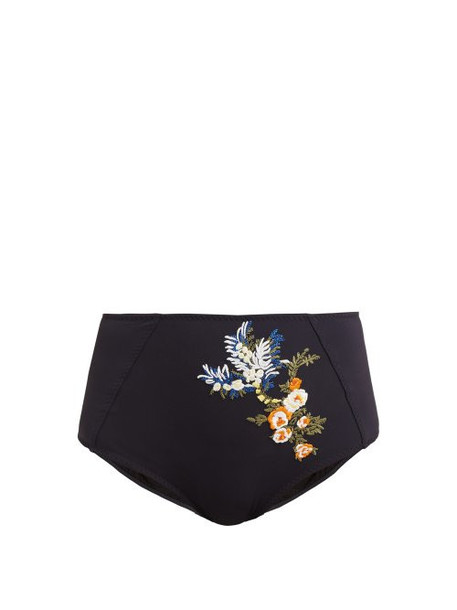 Stella Mccartney - High Rise Floral Garland Embroidered Bikini Briefs - Womens - Navy Multi
