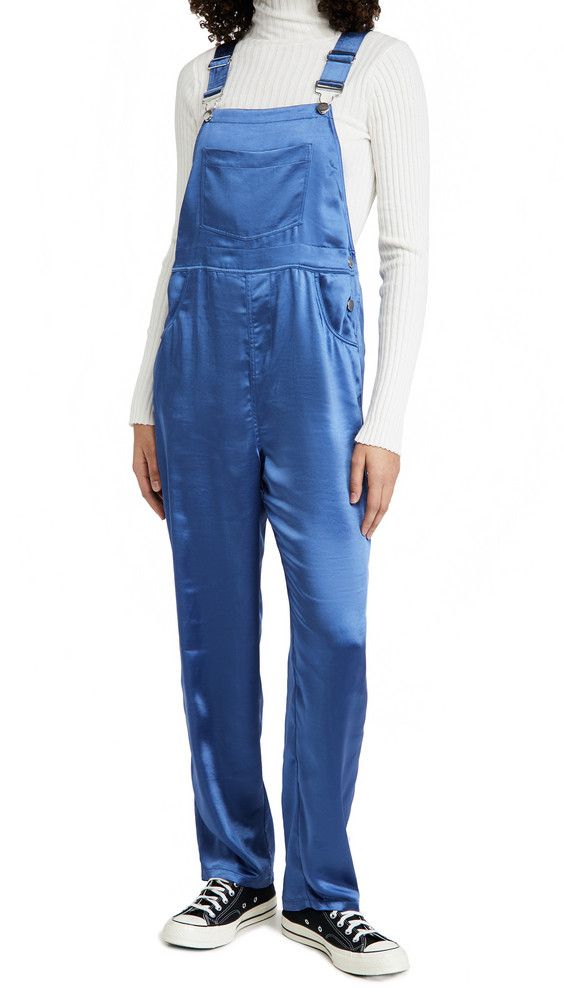 WeWoreWhat Basic Sateen Overalls in blue