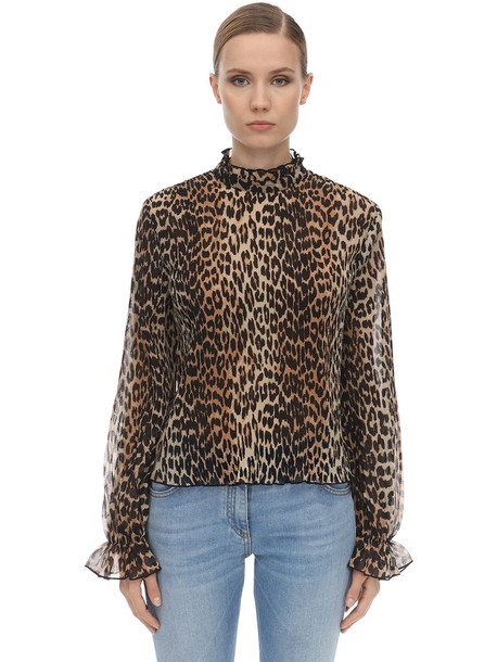 GANNI Leo Pleated Georgette Shirt in leopard