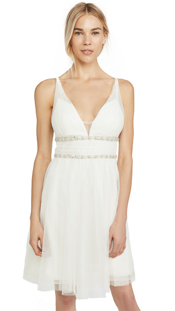 Marchesa Notte Sleeveless Cocktail Dress in ivory