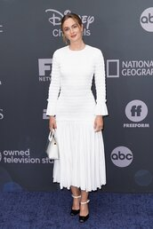 dress,leighton meester,white,white dress,long sleeve dress,celebrity,midi dress
