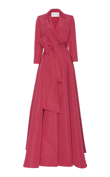 Carolina Herrera Belted Faille Gown in red