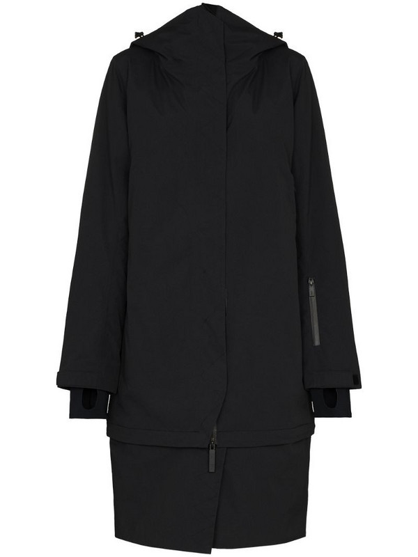 Templa detachable hem oversized coat in black