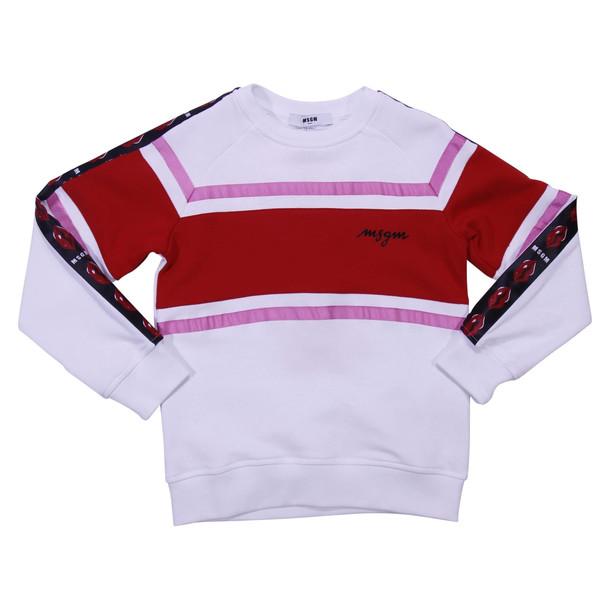 MSGM White & Red Cotton Sweatshirt