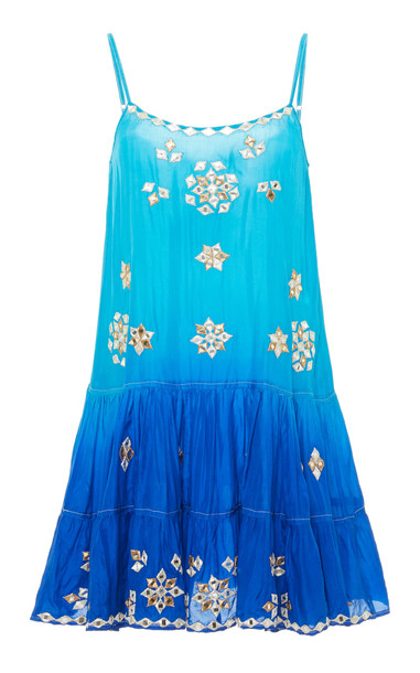 Juliet Dunn Ombre Mirror Embroidery Silk Dress in blue