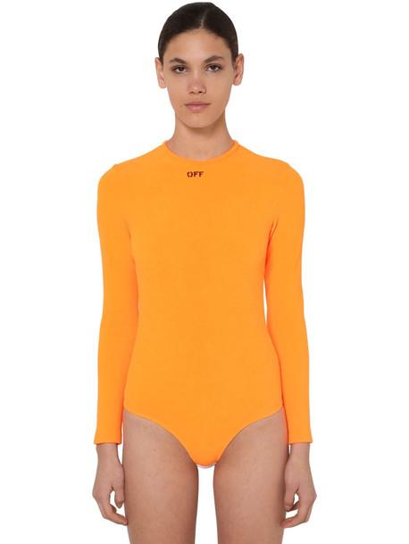 OFF WHITE Printed Techno Bodysuit in orange