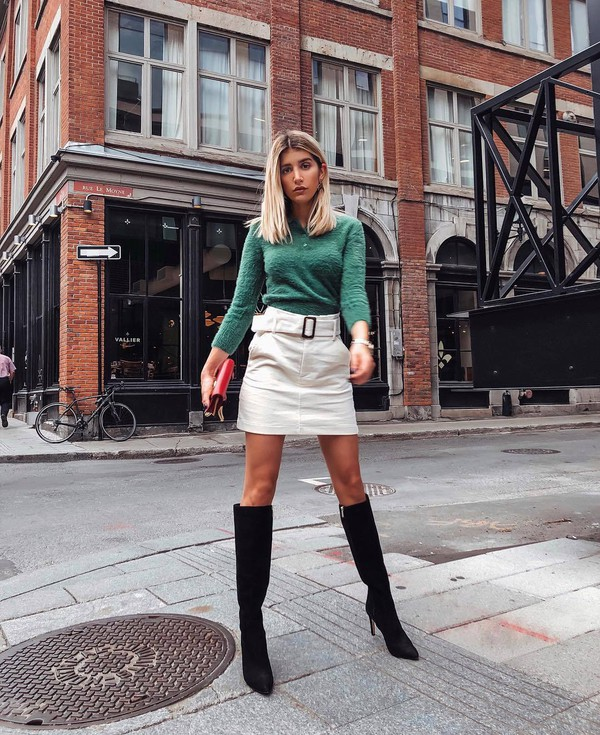 shoes boots thigh high boots high heels boots white skirt mini skirt jumper