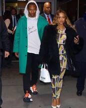 pants,karrueche,celebrity,top,mesh,see through,leggings,pumps