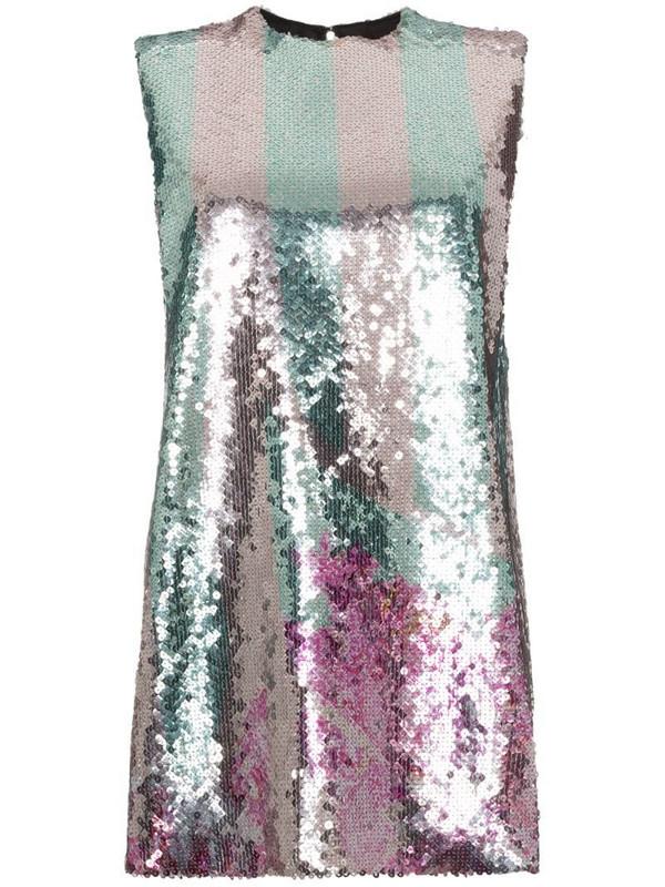 Halpern sequin embellished mini dress in metallic