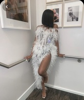 dress,side split maxi dress,feathers