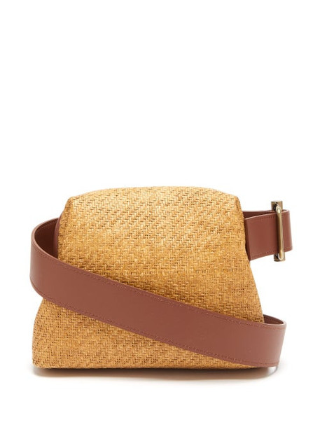 Osoi - Brot Mini Raffia And Leather Cross Body Bag - Womens - Beige