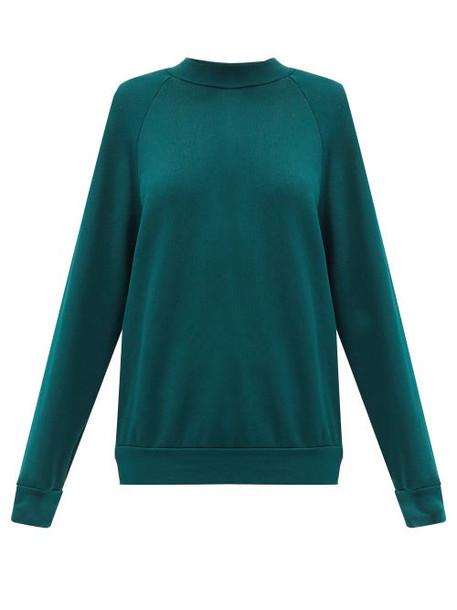 Les Tien - High-neck Brushed-back Cotton Sweatshirt - Womens - Green