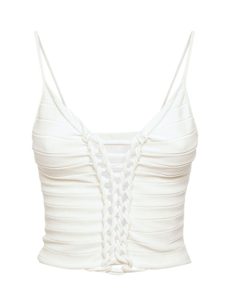 DION LEE Central Braid Rib Knit Crop Top in ivory