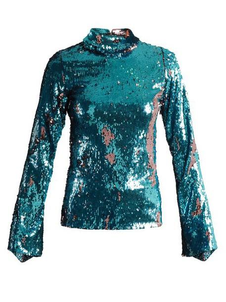 Halpern - Sequin Embellished High Neck Top - Womens - Blue Multi