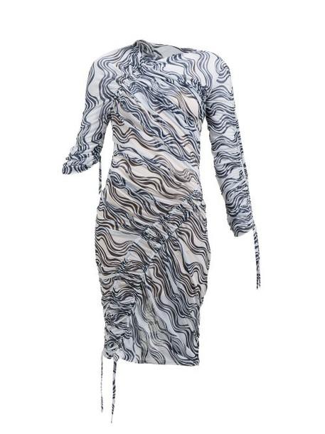 Atlein - Wave Print Ruched Midi Dress - Womens - White Navy