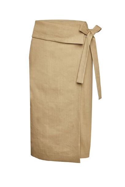 Joseph Finch Wrap Skirt with Linen  in beige