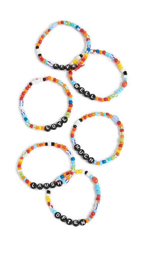 Roxanne Assoulin Live Well Love Much Laugh Often Camp Bracelets in multi