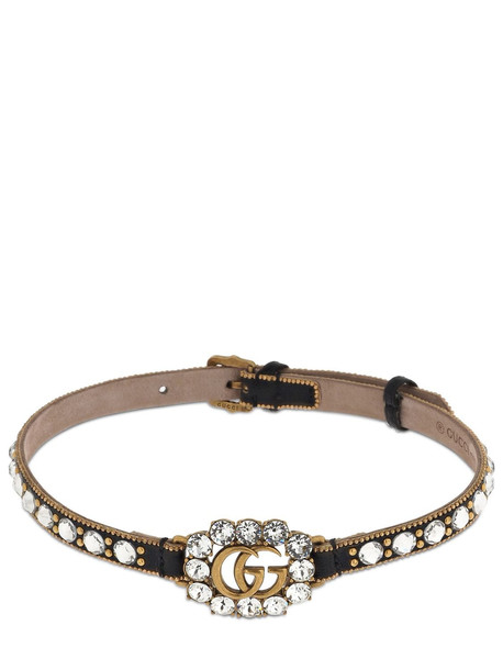 GUCCI Gg Marmont Crystal Leather Choker in black