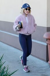 jacket,fur jacket,faux fur jacket,lucy hale,celebrity,leggings,sneakers,sportswear