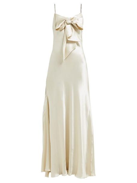 Maria Lucia Hohan - Ziya Bow Embellished Silk Satin Dress - Womens - Ivory