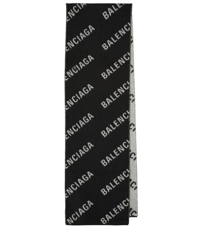 Balenciaga Logo wool scarf in black