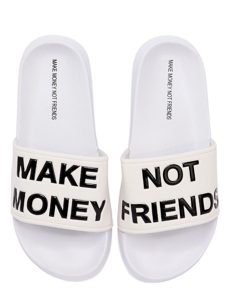 MAKE MONEY NOT FRIENDS Logo Slide Sandals in white