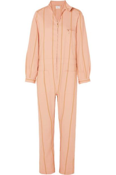 Lucy Folk - Striped Cotton-blend Jumpsuit - Pink
