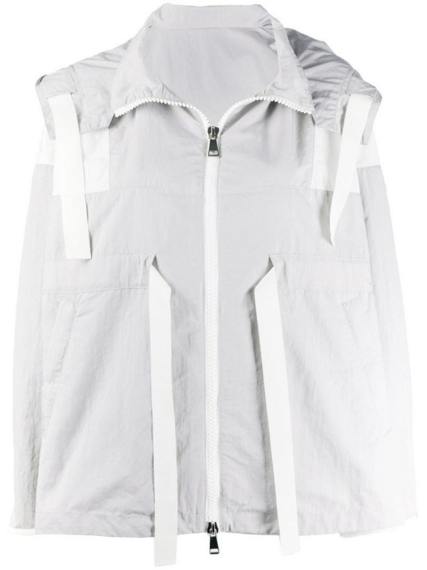 Moncler oversized drawstring zipped jacket in grey