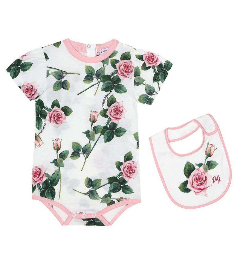Dolce & Gabbana Kids Baby floral bodysuit and bib set in white