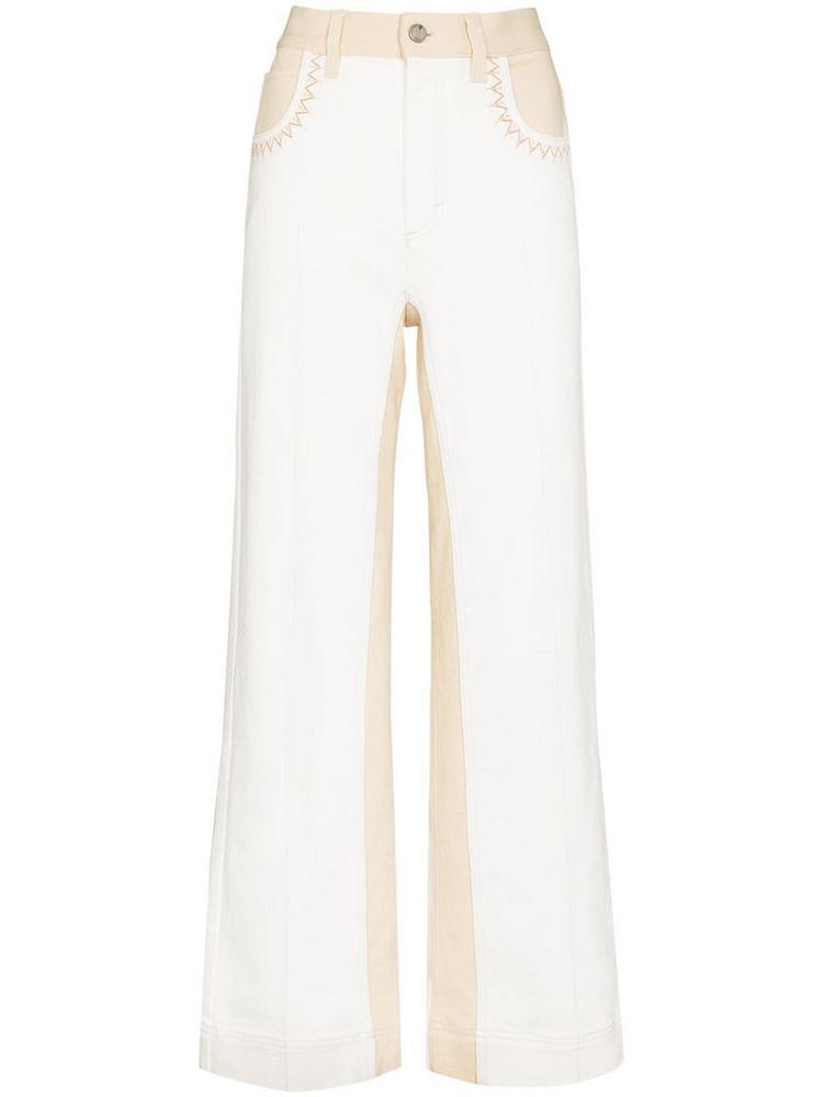 Chloé Chloé two-tone flared jeans - Neutrals