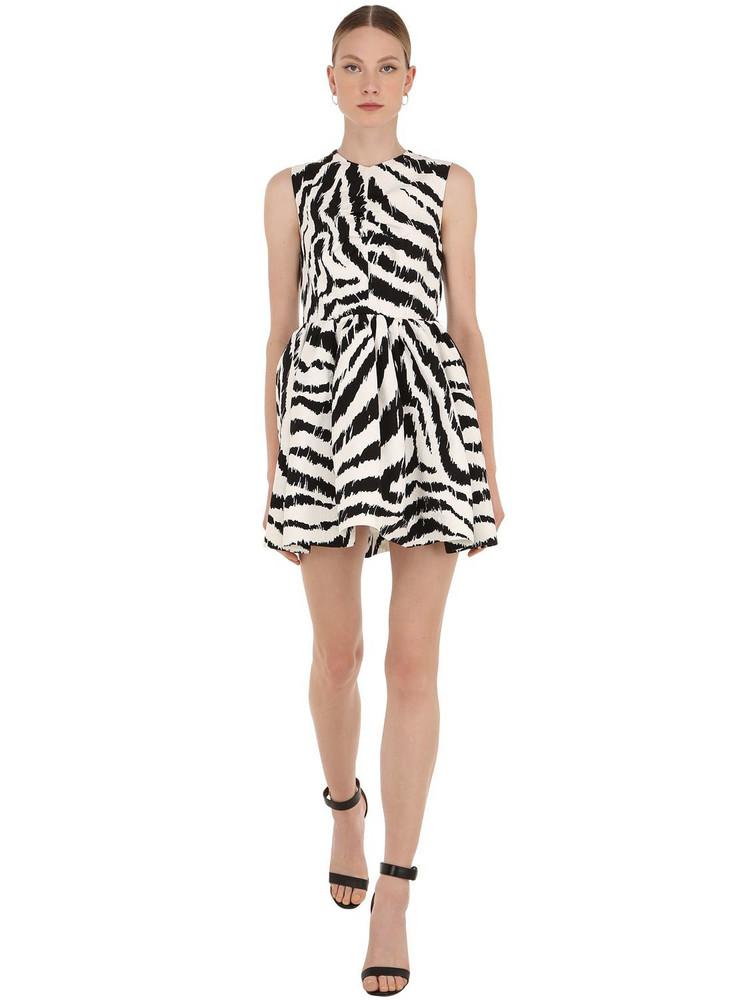 MSGM Zebra Print Cotton Blend Mini Dress in black / white