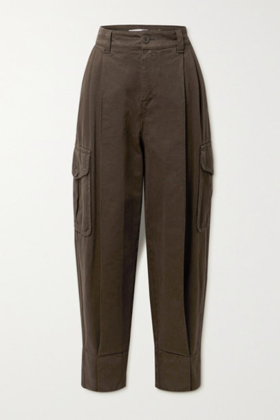 See By Chloé See By Chloé - Pleated High-rise Tapered Jeans - Dark brown